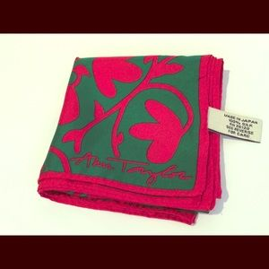 Ann Taylor 100% silk square red green floral scarf